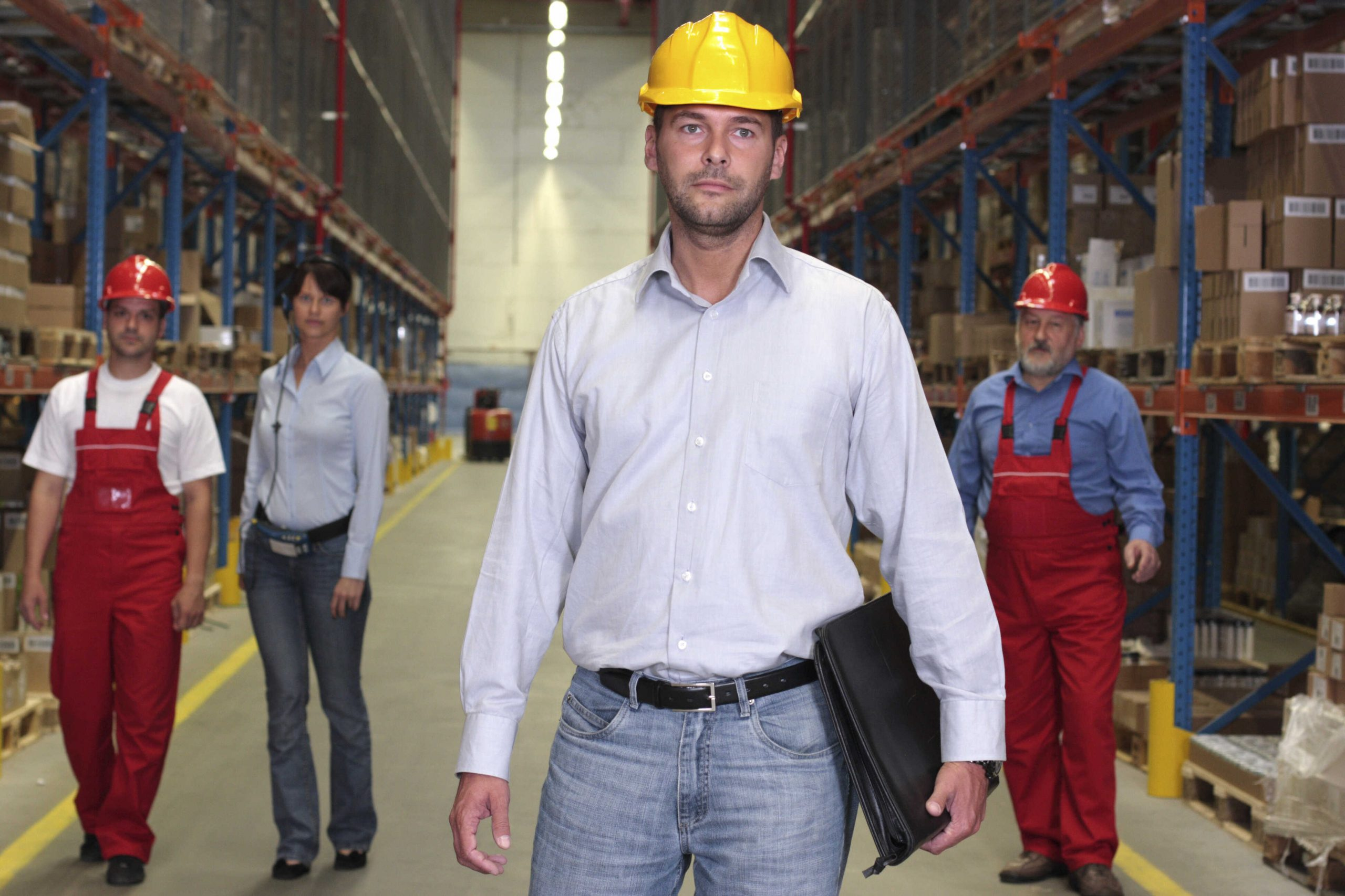 Warehouse leader with crew