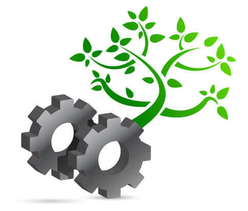 Lean and green gear and tree eco concept